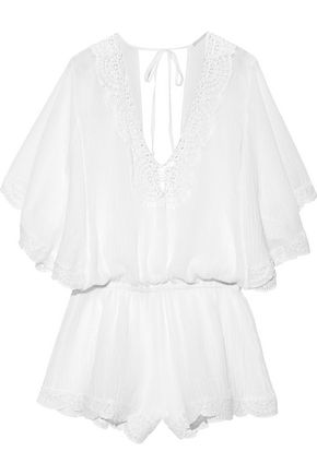 EBERJEY Liberty crochet-trimmed cotton-gauze playsuit