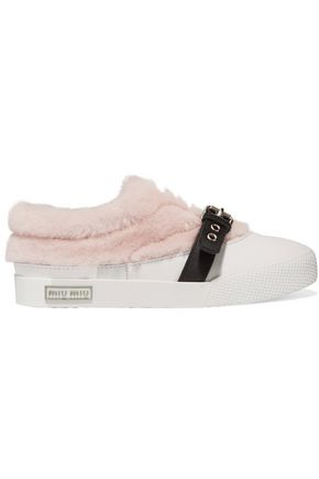 MIU MIU Buckled shearling and leather sneakers