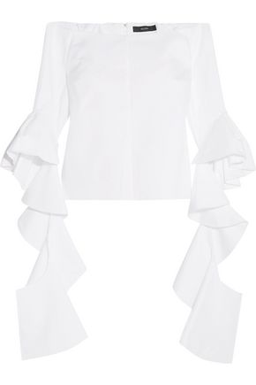 •ELLERY• Delores ruffled off-the-shoulder cotton-poplin top