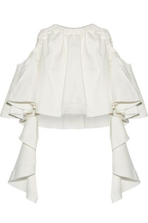 ELLERY Baby cropped ruffled cotton-blend top