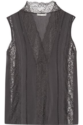 ALICE + OLIVIA Peta lace-paneled crepe de chine top