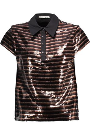 ALICE + OLIVIA Tamlyn sequined mesh and cotton-blend top