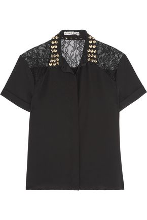 ALICE + OLIVIA Koi corded lace-paneled studded silk shirt