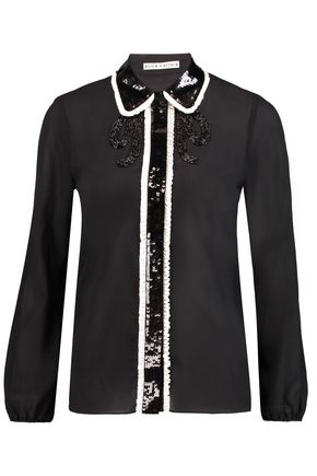 ALICE + OLIVIA Gigi embellished silk-blend chiffon blouse