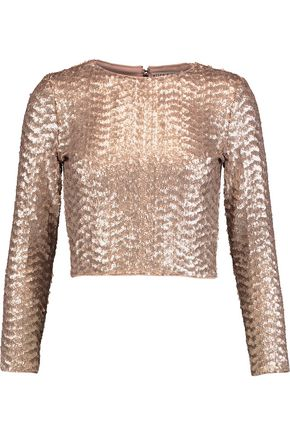 ALICE + OLIVIA Sequined crepe top