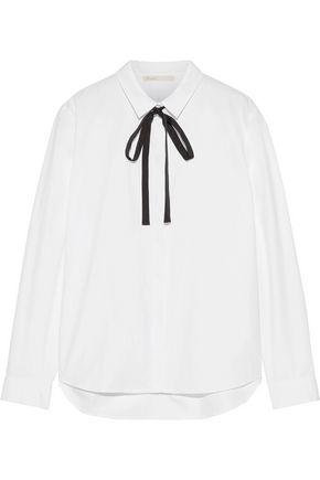 MAJE Pussy-bow cotton-poplin blouse