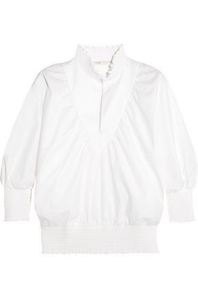 MAJE | Maje Ruffled Cotton-Poplin Blouse | Goxip