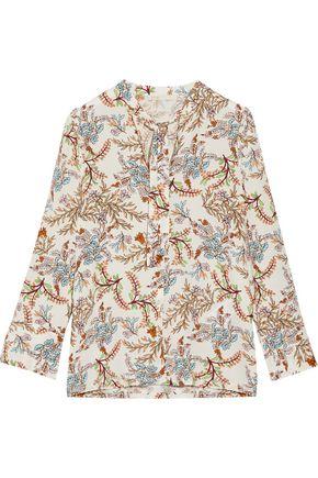 MAJE Pussy-bow floral-print crepe de chine blouse