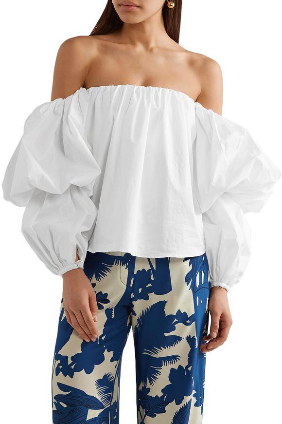 Johanna Ortiz Woman Manaure Off-the-shoulder Cotton-blend Poplin Top White Size 10 Johanna Ortiz Buy Cheap Choice Cheap Exclusive Popular Clearance Best Cheap Sale Shop pByWK4ER