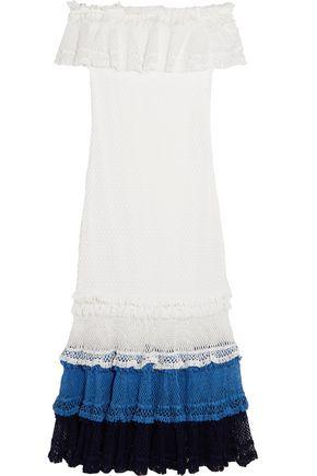 JONATHAN SIMKHAI Off-the-shoulder crocheted cotton-blend dress