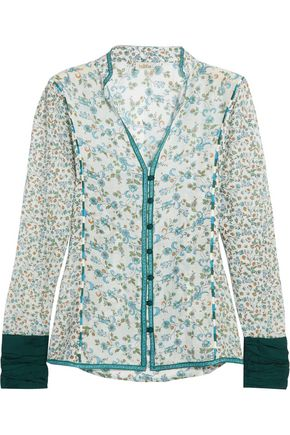 TALITHA Floral-print embroidered cotton and silk-blend gauze shirt