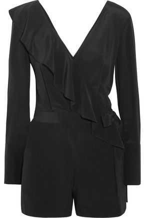 DIANE VON FURSTENBERG Ruffled wrap-effect silk crepe de chine playsuit