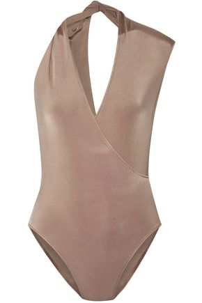 CUSHNIE ET OCHS Twisted wrap-effect stretch-jersey bodysuit