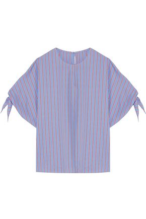 ROSETTA GETTY Striped tie-sleeve cotton-poplin top