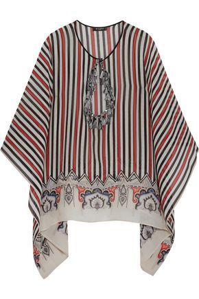 ETRO Tasseled cutout striped silk-chiffon top