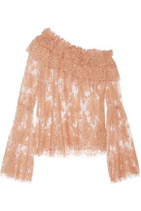 ZIMMERMANN Bowerbird one-shoulder cotton-blend corded lace top