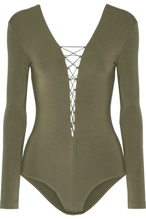 T by ALEXANDER WANG Lace-up stretch-modal jersey bodysuit