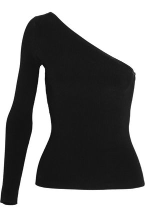 ELIZABETH AND JAMES Amanda one-shoulder ribbed stretch-knit top