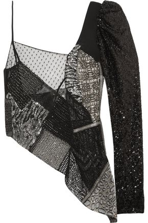 SAINT LAURENT Asymmetric embellished tulle and wool-canvas top