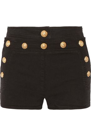 BALMAIN Button-detailed stretch-denim shorts