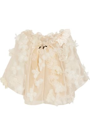REEM ACRA  New York Off-the-shoulder floral-appliquéd silk-organza top