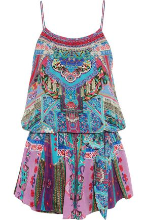 CAMILLA Guardian of Secrets layered crystal-embellished floral-print silk playsuit