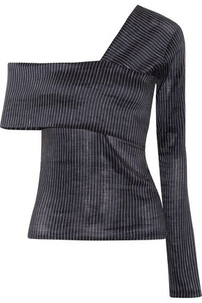 BEAUFILLE Lota one-shoulder striped stretch cotton and linen-blend top