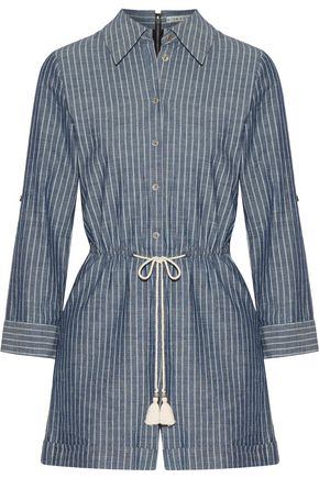 ALICE + OLIVIA Tasseled striped cotton-chambray playsuit