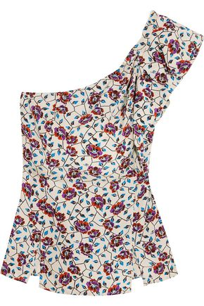 ISABEL MARANT Rowina one-shoulder printed silk top