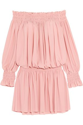 NORMA KAMALI Off-the-shoulder ruffled smocked stretch-jersey dress