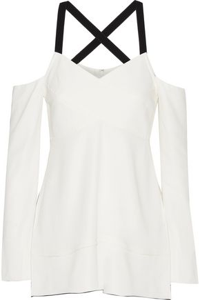 PROENZA SCHOULER Cold-shoulder crepe top