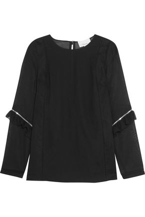 3.1 PHILLIP LIM Zip-detailed ruffled georgette and cotton-crepe top