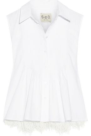 SEA Lace-paneled pintucked cotton-poplin top