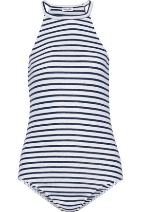SPLENDID Striped stretch-jersey halterneck bodysuit
