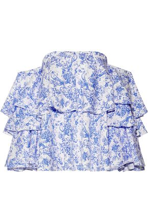 CAROLINE CONSTAS Carmen off-the-shoulder printed cotton-blend toile top
