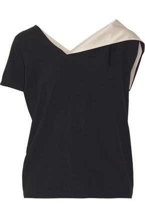 LANVIN Satin-trimmed crepe top