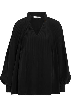 TIBI Plissé-silk blouse