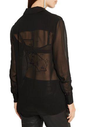 ALEXANDER WANG Embroidered silk-chiffon blouse