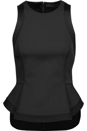 ALEXANDER WANG Satin-trimmed neoprene peplum top