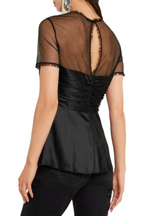 ALEXANDER WANG Studded tulle-paneled satin top