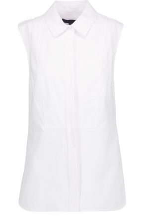 ALEXANDER WANG Pleated cotton-canvas peplum top