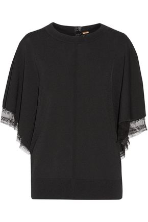 ADAM LIPPES Lace-trimmed jersey top