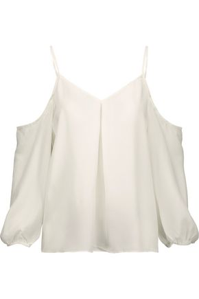 JOIE Eclipse cold-shoulder washed-silk top