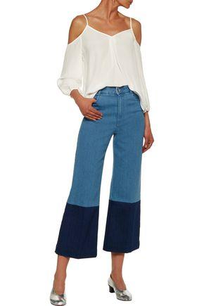 JOIE Eclipse cold-shoulder washed-silk top