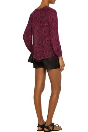 JOIE Calla tasseled printed silk blouse