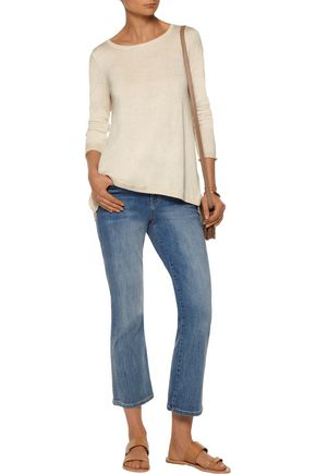 JOIE Marianna lace-paneled stretch-knit top