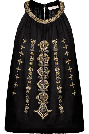 JOIE Zeldah bead-embellished embroidered crepe top