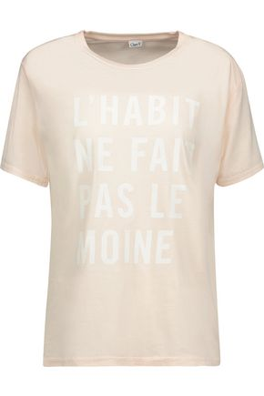 CLARE V. Printed cotton and modal-blend jersey T-shirt