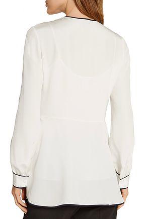 OSCAR DE LA RENTA Asymmetric silk peplum blouse