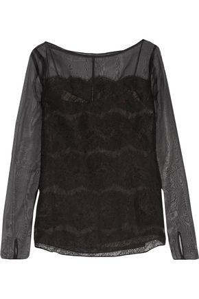 OSCAR DE LA RENTA Lace-trimmed silk-chiffon top